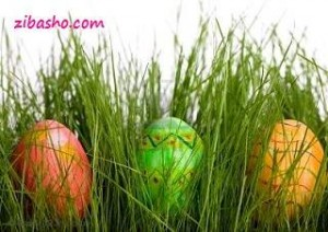 2709209 three easter eggs in fresh green grass Optimized 300x212 سبزه آرایی نوروزی